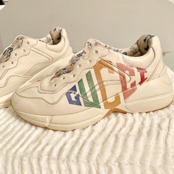 e565309ad Gucci Shoes | Womens Rhyton Glitter Leather Sneakers | Poshmark